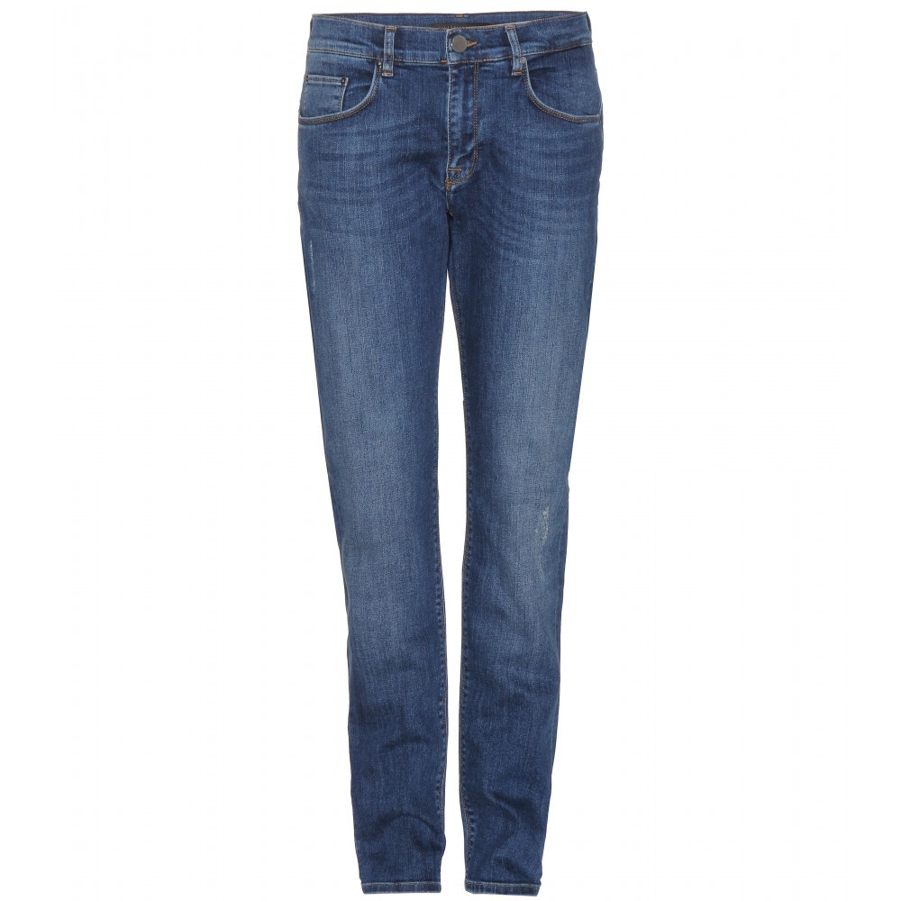 Boyfriend Jeans - style: boyfriend; length: standard; pattern: plain; pocket detail: traditional 5 pocket; waist: mid/regular rise; predominant colour: denim; occasions: casual; fibres: cotton - stretch; jeans detail: whiskering, shading down centre of thigh; texture group: denim; pattern type: fabric; season: s/s 2014