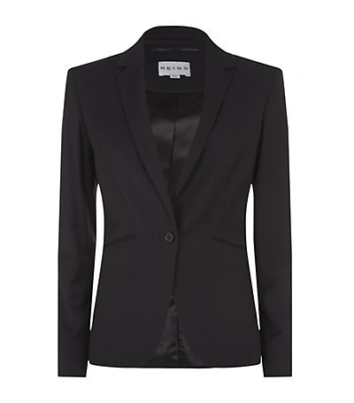 Larke Slim Tailored Jacket - pattern: plain; style: single breasted blazer; collar: standard lapel/rever collar; predominant colour: black; occasions: evening, work, occasion, creative work; length: standard; fit: tailored/fitted; fibres: viscose/rayon - stretch; sleeve length: long sleeve; sleeve style: standard; collar break: low/open; pattern type: fabric; texture group: woven light midweight; season: s/s 2014