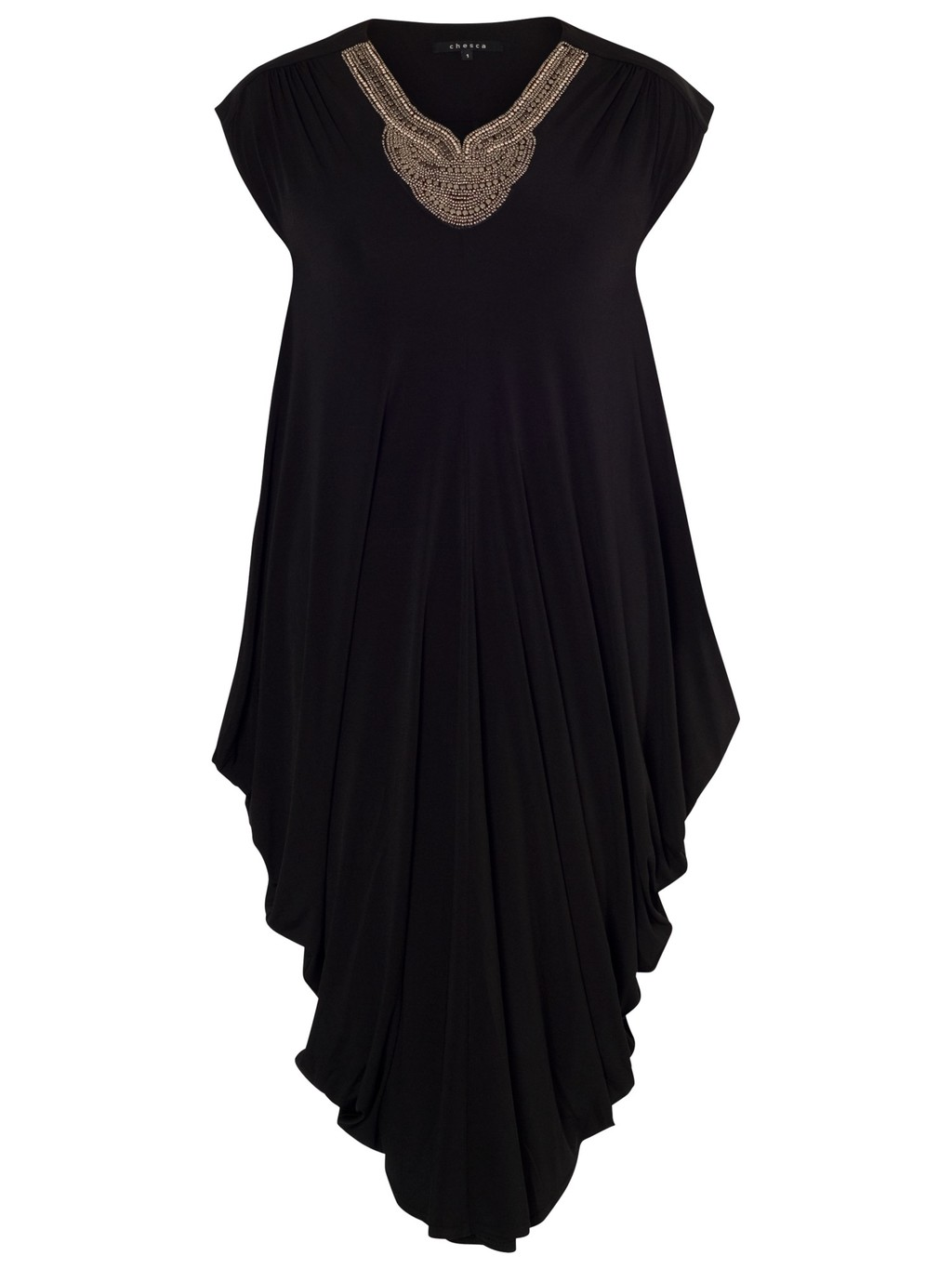 Stud Neckline Draped Dress, Black - length: calf length; neckline: v-neck; sleeve style: capped; fit: loose; pattern: plain; predominant colour: black; occasions: casual, evening; style: asymmetric (hem); fibres: viscose/rayon - stretch; sleeve length: short sleeve; pattern type: fabric; texture group: jersey - stretchy/drapey; embellishment: studs; season: s/s 2014; embellishment location: bust