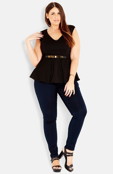 Metal Belt Peplum Top (Plus Size) - neckline: v-neck; pattern: plain; sleeve style: sleeveless; waist detail: peplum waist detail; predominant colour: black; occasions: casual, evening; length: standard; style: top; fibres: polyester/polyamide - 100%; fit: body skimming; sleeve length: short sleeve; pattern type: fabric; texture group: other - light to midweight; season: s/s 2014
