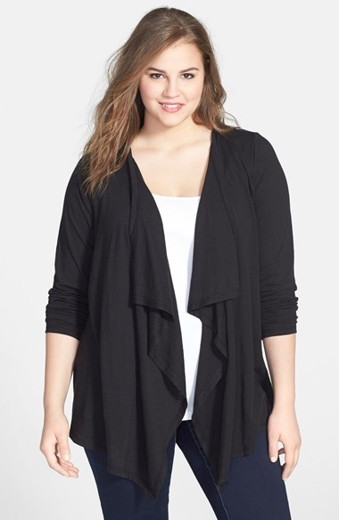 Drape Front Cardigan (Plus Size) - pattern: plain; neckline: waterfall neck; length: below the bottom; style: open front; predominant colour: black; occasions: casual, creative work; fibres: cotton - 100%; fit: standard fit; sleeve length: long sleeve; sleeve style: standard; texture group: knits/crochet; pattern type: knitted - fine stitch; season: s/s 2014