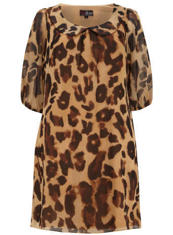 Lovedrobe Brown Animal Print Tunic - length: below the bottom; style: tunic; predominant colour: chocolate brown; secondary colour: camel; occasions: casual, creative work; fit: body skimming; neckline: no opening/shirt collar/peter pan; sleeve length: half sleeve; sleeve style: standard; pattern type: fabric; pattern: animal print; texture group: other - light to midweight; season: s/s 2014; pattern size: big & busy (top)