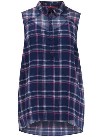 Navy Sleeveless Check Shirt - neckline: shirt collar/peter pan/zip with opening; sleeve style: sleeveless; pattern: checked/gingham; length: below the bottom; style: shirt; secondary colour: hot pink; predominant colour: navy; occasions: casual, creative work; fit: body skimming; sleeve length: sleeveless; texture group: sheer fabrics/chiffon/organza etc.; pattern type: fabric; season: s/s 2014