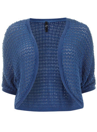Blue Crochet Shrug - pattern: plain; style: bolero/shrug; length: cropped; neckline: collarless open; predominant colour: royal blue; occasions: casual, creative work; fibres: acrylic - 100%; fit: slim fit; sleeve length: short sleeve; sleeve style: standard; texture group: knits/crochet; pattern type: knitted - other; season: s/s 2014