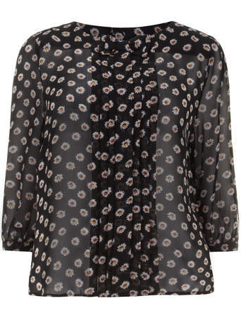 Lovedrobe Black Daisy Print Bow Detail Top - neckline: round neck; predominant colour: black; occasions: casual, creative work; length: standard; style: top; fit: straight cut; sleeve length: 3/4 length; sleeve style: standard; texture group: sheer fabrics/chiffon/organza etc.; pattern type: fabric; pattern: patterned/print; season: s/s 2014; pattern size: big & busy (top)