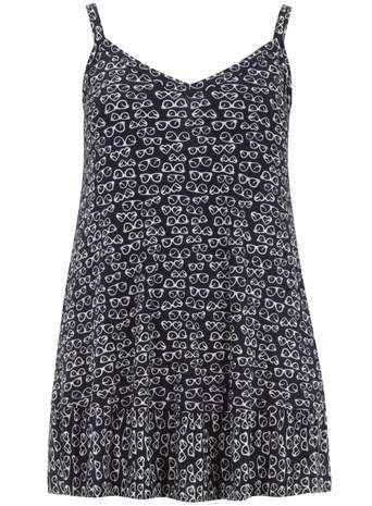 Navy Sunglasses Camisole Top - neckline: low v-neck; sleeve style: sleeveless; length: below the bottom; style: camisole; predominant colour: navy; occasions: casual; fit: body skimming; sleeve length: sleeveless; pattern type: fabric; pattern: patterned/print; texture group: other - light to midweight; season: s/s 2014; pattern size: big & busy (top)