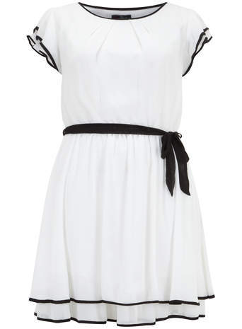 Lovedrobe White Belted Dress - style: tunic; length: mid thigh; neckline: round neck; sleeve style: capped; fit: fitted at waist; waist detail: belted waist/tie at waist/drawstring; predominant colour: blush; secondary colour: black; occasions: casual, evening; fibres: polyester/polyamide - 100%; sleeve length: short sleeve; pattern type: fabric; pattern: colourblock; texture group: jersey - stretchy/drapey; season: s/s 2014