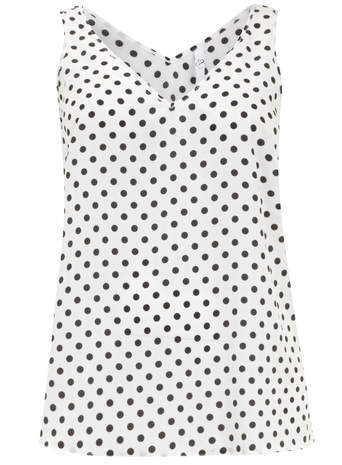 Ivory Spot Busty Swing Vest - neckline: v-neck; sleeve style: sleeveless; length: below the bottom; style: vest top; pattern: polka dot; predominant colour: white; secondary colour: black; occasions: casual, creative work; fit: body skimming; sleeve length: sleeveless; pattern type: fabric; texture group: other - light to midweight; season: s/s 2014