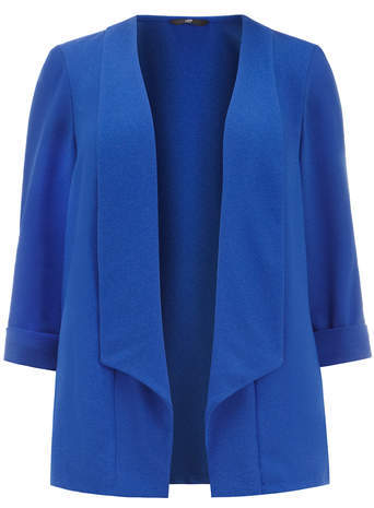 Cobalt Blue Crepe Jacket - pattern: plain; style: single breasted blazer; collar: shawl/waterfall; predominant colour: royal blue; occasions: casual, creative work; length: standard; fit: straight cut (boxy); fibres: polyester/polyamide - stretch; sleeve length: 3/4 length; sleeve style: standard; texture group: crepes; collar break: low/open; pattern type: fabric; season: s/s 2014; trends: zesty shades
