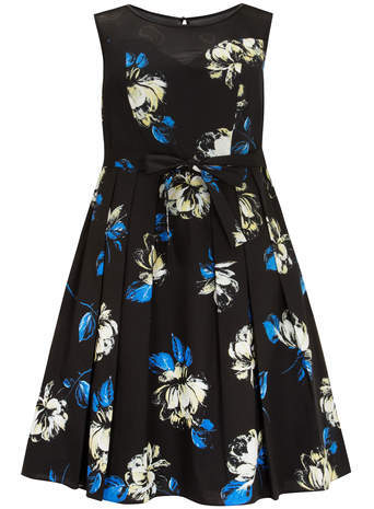 Scarlett & Jo Black Floral Print Prom Dress - neckline: round neck; sleeve style: sleeveless; predominant colour: black; length: just above the knee; fit: fitted at waist & bust; style: fit & flare; fibres: cotton - stretch; occasions: occasion; sleeve length: sleeveless; pattern type: fabric; pattern: florals; texture group: jersey - stretchy/drapey; season: s/s 2014