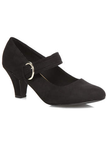 Black Suedette Mary Jane Court Shoe - predominant colour: black; occasions: work, creative work; heel height: mid; embellishment: buckles; heel: standard; toe: round toe; style: mary janes; finish: plain; pattern: plain; material: faux suede; season: s/s 2014