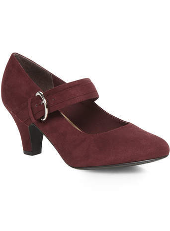 Oxblood Red Suedette Mary Jane Court Shoe - predominant colour: burgundy; occasions: work, creative work; heel height: mid; embellishment: buckles; heel: cone; toe: round toe; style: mary janes; finish: plain; pattern: plain; material: faux suede; season: s/s 2014; wardrobe: highlight
