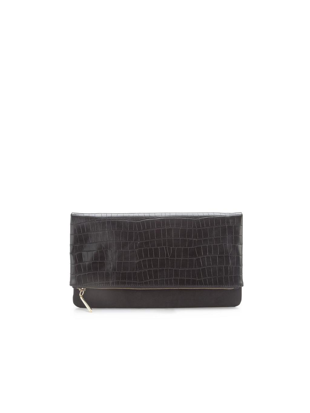 Clutch Bag, Black - predominant colour: black; occasions: evening, occasion; type of pattern: standard; style: clutch; length: hand carry; size: small; material: leather; pattern: plain; finish: plain; season: s/s 2014