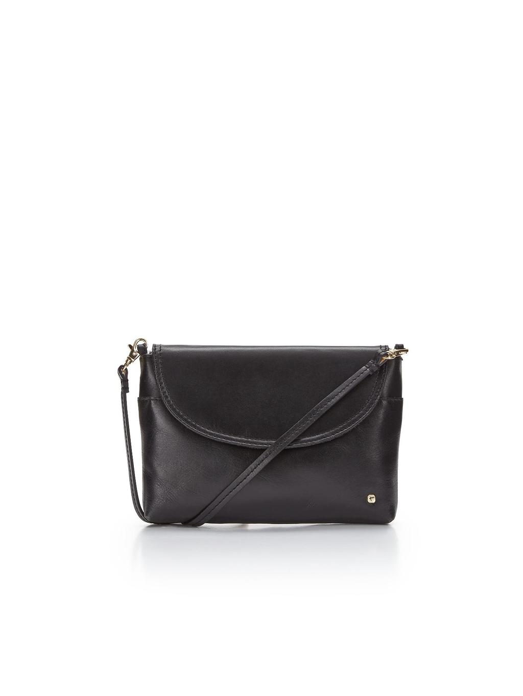 Crossbody Bag, Black - predominant colour: black; occasions: casual, work, creative work; style: messenger; length: across body/long; size: standard; material: faux leather; pattern: plain; finish: plain; season: s/s 2014