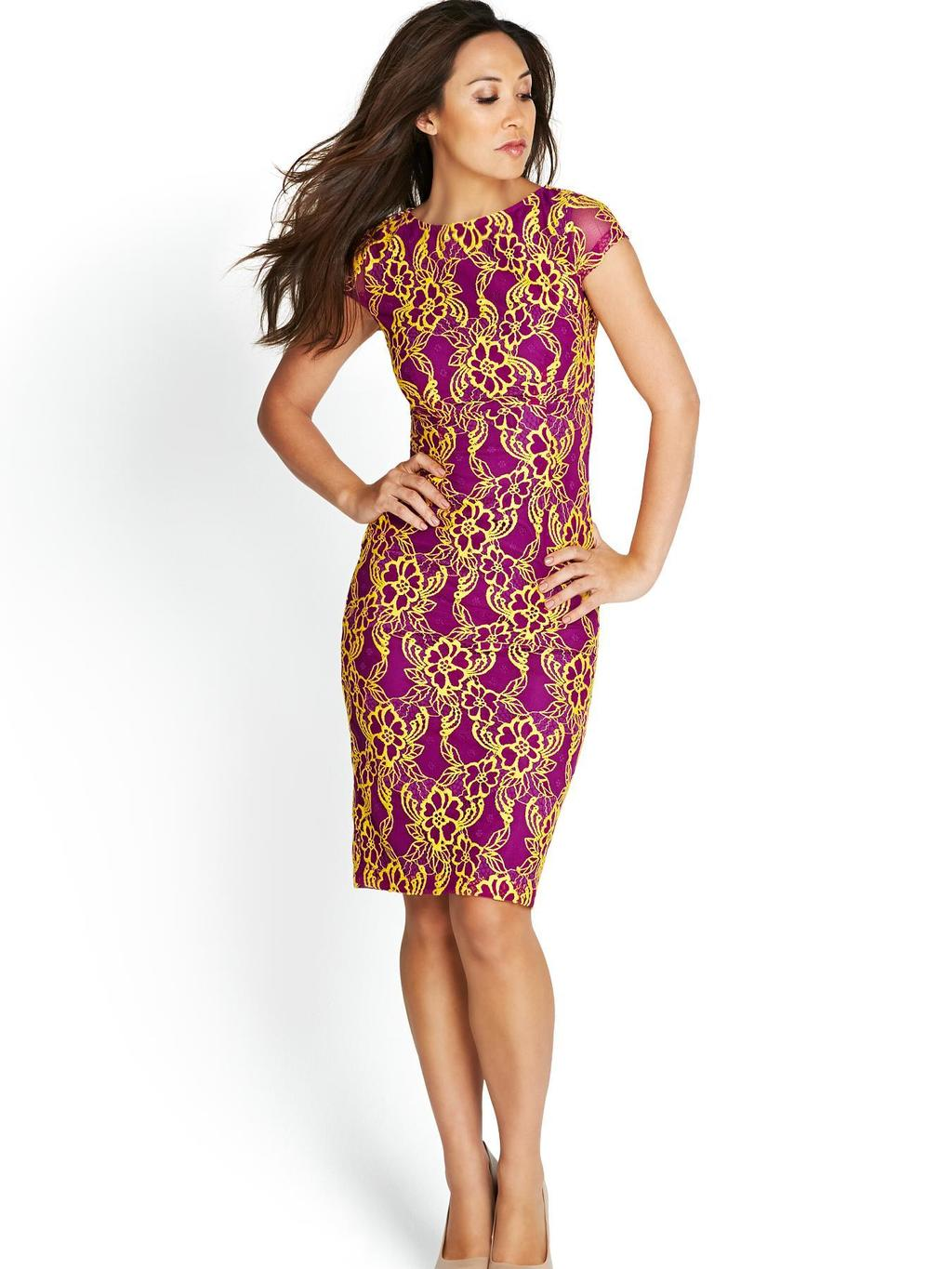 Bright Lace Pencil Dress, Purple - style: shift; neckline: round neck; sleeve style: capped; predominant colour: purple; secondary colour: gold; occasions: evening, occasion, creative work; length: just above the knee; fit: body skimming; fibres: polyester/polyamide - stretch; sleeve length: short sleeve; pattern type: fabric; pattern size: standard; pattern: patterned/print; texture group: jersey - stretchy/drapey; season: s/s 2014; trends: zesty shades