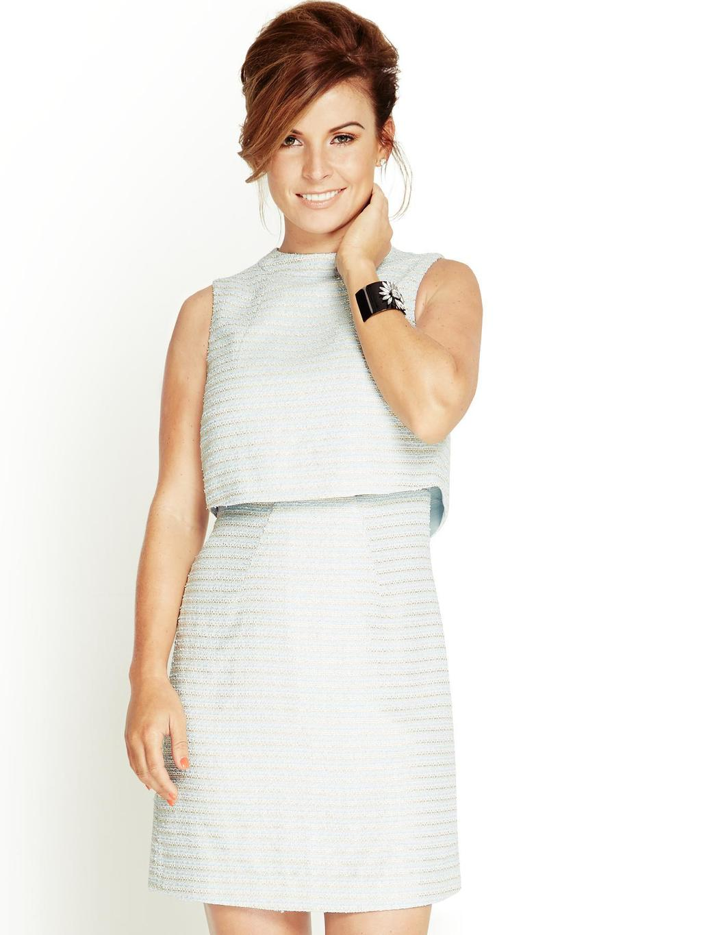 Boucle 2 In 1 Dress, Blue - style: shift; length: mid thigh; fit: tailored/fitted; pattern: horizontal stripes; sleeve style: sleeveless; neckline: high neck; secondary colour: ivory/cream; predominant colour: pale blue; occasions: evening, occasion; fibres: polyester/polyamide - mix; sleeve length: sleeveless; pattern type: fabric; pattern size: standard; texture group: other - light to midweight; season: s/s 2014