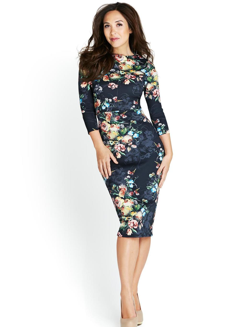 Floral Print Midi Dress, Black - length: below the knee; neckline: slash/boat neckline; fit: tight; style: bodycon; predominant colour: navy; secondary colour: nude; occasions: evening, occasion, creative work; fibres: polyester/polyamide - stretch; sleeve length: 3/4 length; sleeve style: standard; pattern type: fabric; pattern size: standard; pattern: florals; texture group: jersey - stretchy/drapey; season: s/s 2014; trends: zesty shades