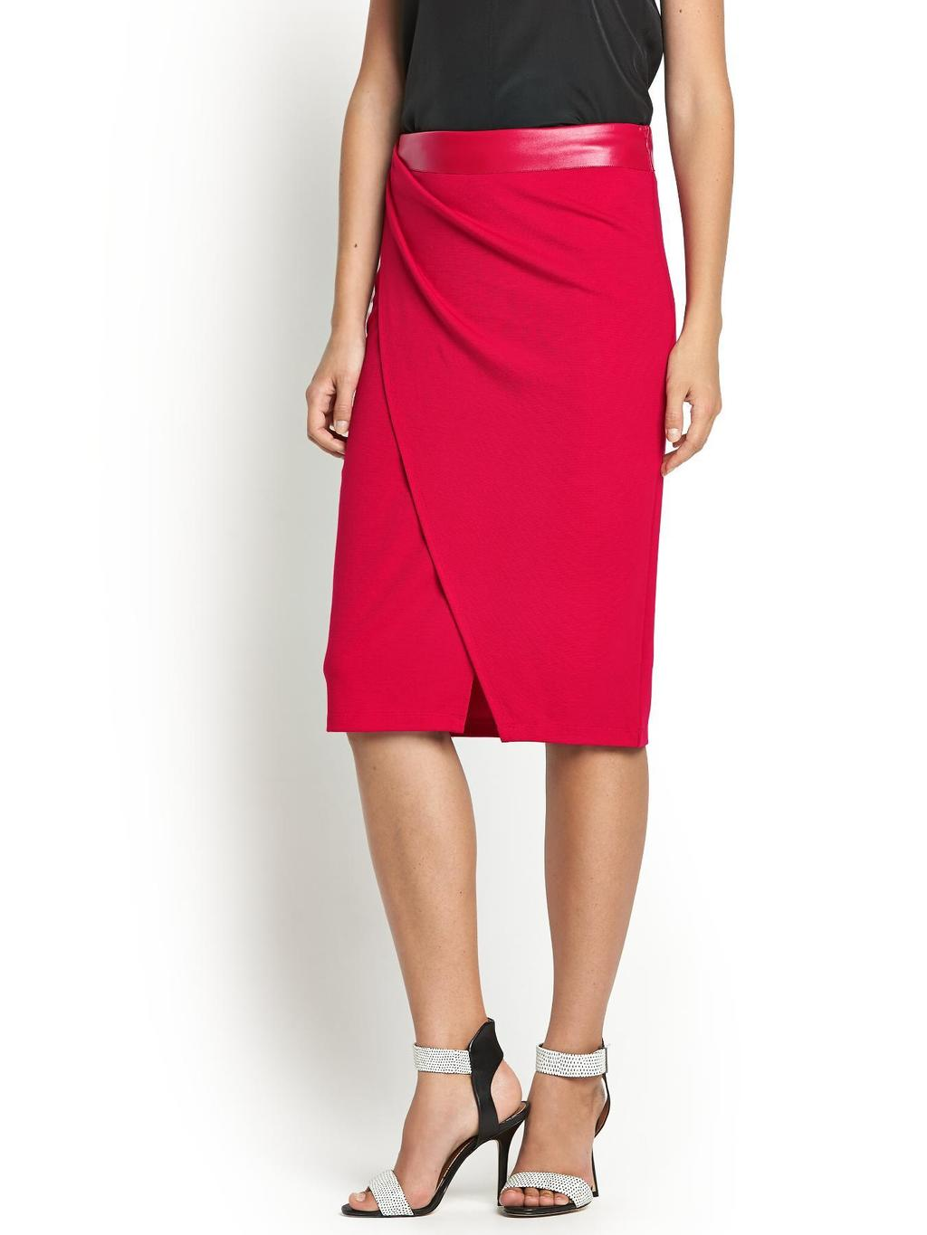 Pu Waist Wrap Skirt, Black - length: below the knee; pattern: plain; style: wrap/faux wrap; fit: tailored/fitted; waist: high rise; predominant colour: true red; occasions: evening, creative work; fibres: polyester/polyamide - mix; hip detail: subtle/flattering hip detail; waist detail: feature waist detail; pattern type: fabric; texture group: other - light to midweight; season: s/s 2014