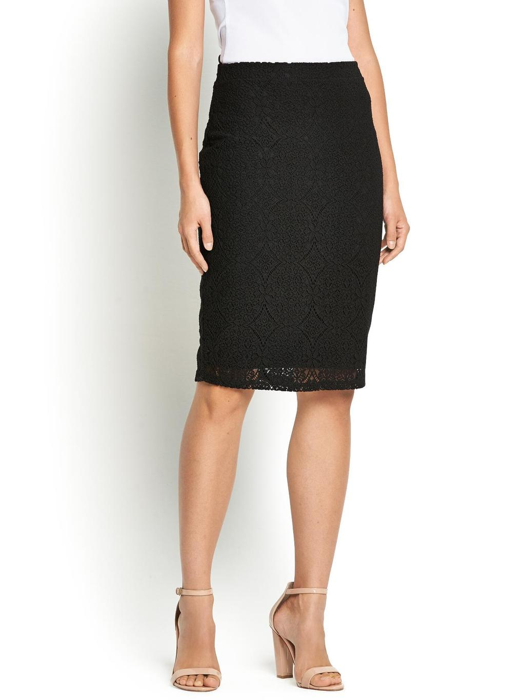Lace Skirt, Black - style: pencil; fit: tailored/fitted; waist: high rise; predominant colour: black; occasions: evening, occasion; length: on the knee; fibres: viscose/rayon - stretch; texture group: lace; pattern type: fabric; pattern: patterned/print; embellishment: lace; season: s/s 2014; wardrobe: event; embellishment location: all over