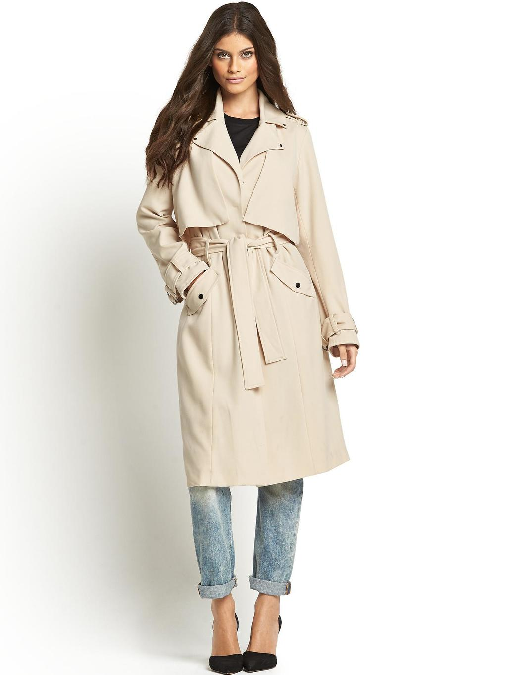 Finery Trench Coat - pattern: plain; style: trench coat; collar: standard lapel/rever collar; predominant colour: ivory/cream; occasions: casual, work, creative work; fit: straight cut (boxy); fibres: polyester/polyamide - mix; length: below the knee; waist detail: belted waist/tie at waist/drawstring; sleeve length: long sleeve; sleeve style: standard; collar break: medium; pattern type: fabric; texture group: woven light midweight; season: s/s 2014