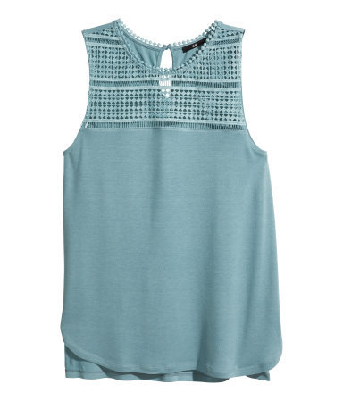Lace Top - pattern: plain; sleeve style: sleeveless; predominant colour: pale blue; occasions: casual, creative work; length: standard; style: top; fibres: viscose/rayon - 100%; fit: body skimming; neckline: crew; back detail: longer hem at back than at front; sleeve length: sleeveless; texture group: jersey - clingy; pattern type: fabric; season: s/s 2014; embellishment: contrast fabric; embellishment location: bust, shoulder