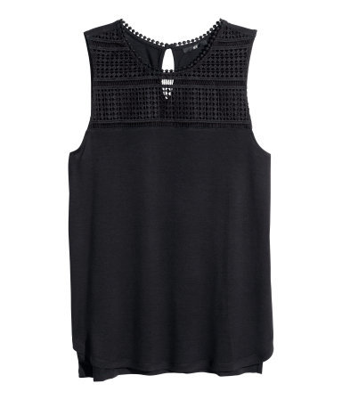 Lace Top - pattern: plain; sleeve style: sleeveless; predominant colour: black; occasions: casual, creative work; length: standard; style: top; fibres: viscose/rayon - 100%; fit: body skimming; neckline: crew; back detail: longer hem at back than at front; sleeve length: sleeveless; texture group: jersey - clingy; pattern type: fabric; season: s/s 2014; embellishment: contrast fabric; embellishment location: bust, shoulder