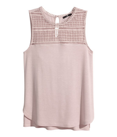 Lace Top - pattern: plain; sleeve style: sleeveless; shoulder detail: contrast pattern/fabric at shoulder; predominant colour: blush; occasions: casual, creative work; length: standard; style: top; fibres: viscose/rayon - 100%; fit: body skimming; neckline: crew; bust detail: contrast pattern/fabric/detail at bust; back detail: longer hem at back than at front; sleeve length: sleeveless; texture group: jersey - clingy; pattern type: fabric; embellishment: lace; season: s/s 2014
