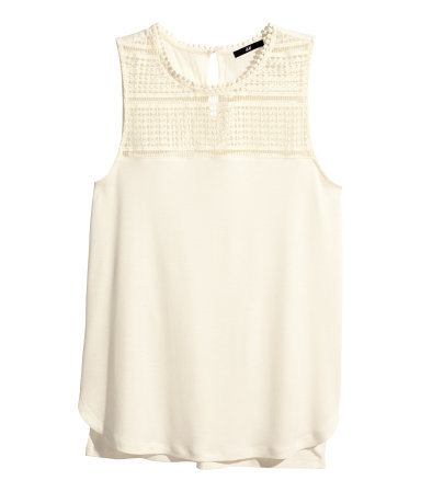 Lace Top - pattern: plain; sleeve style: sleeveless; shoulder detail: contrast pattern/fabric at shoulder; predominant colour: white; occasions: casual, creative work; length: standard; style: top; fibres: viscose/rayon - 100%; fit: body skimming; neckline: crew; bust detail: contrast pattern/fabric/detail at bust; back detail: longer hem at back than at front; sleeve length: sleeveless; texture group: jersey - clingy; pattern type: fabric; embellishment: lace; season: s/s 2014