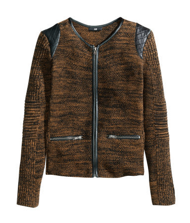Knitted Cardigan - neckline: round neck; predominant colour: chocolate brown; secondary colour: black; occasions: casual; length: standard; style: standard; fibres: cotton - 100%; fit: tight; sleeve length: long sleeve; sleeve style: standard; texture group: knits/crochet; pattern type: knitted - fine stitch; pattern size: light/subtle; season: s/s 2014; pattern: marl; wardrobe: highlight; embellishment: contrast fabric; embellishment location: shoulder