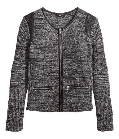 Knitted Cardigan - neckline: round neck; shoulder detail: contrast pattern/fabric at shoulder; predominant colour: charcoal; secondary colour: black; occasions: casual; length: standard; style: standard; fibres: cotton - 100%; fit: tight; sleeve length: long sleeve; sleeve style: standard; texture group: knits/crochet; pattern size: light/subtle; season: s/s 2014; pattern: marl; trends: statement knits