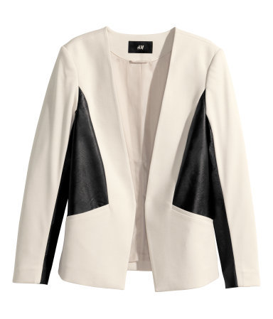 Jersey Jacket - style: single breasted blazer; collar: round collar/collarless; fit: slim fit; predominant colour: ivory/cream; secondary colour: black; occasions: casual, evening, creative work; length: standard; fibres: polyester/polyamide - stretch; bust detail: contrast pattern/fabric/detail at bust; sleeve length: long sleeve; sleeve style: standard; collar break: low/open; pattern type: fabric; pattern size: standard; pattern: colourblock; texture group: other - light to midweight; season: s/s 2014