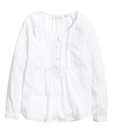 Cotton Blouse - neckline: round neck; pattern: plain; bust detail: buttons at bust (in middle at breastbone)/zip detail at bust; predominant colour: white; occasions: casual; length: standard; style: top; fibres: cotton - 100%; fit: body skimming; sleeve length: long sleeve; sleeve style: standard; texture group: cotton feel fabrics; pattern type: fabric; season: s/s 2014