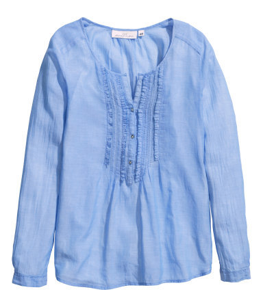 Cotton Blouse - neckline: round neck; pattern: plain; bust detail: ruching/gathering/draping/layers/pintuck pleats at bust; predominant colour: pale blue; occasions: casual; length: standard; style: top; fibres: cotton - 100%; fit: body skimming; sleeve length: long sleeve; sleeve style: standard; texture group: cotton feel fabrics; pattern type: fabric; season: s/s 2014