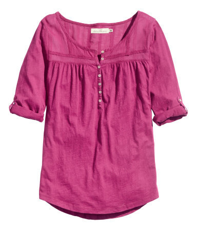 Cotton Top - neckline: round neck; pattern: plain; predominant colour: hot pink; occasions: casual; length: standard; style: top; fibres: cotton - 100%; fit: body skimming; back detail: longer hem at back than at front; sleeve length: long sleeve; sleeve style: standard; texture group: cotton feel fabrics; pattern type: fabric; embellishment: lace; season: s/s 2014; trends: zesty shades; embellishment location: bust