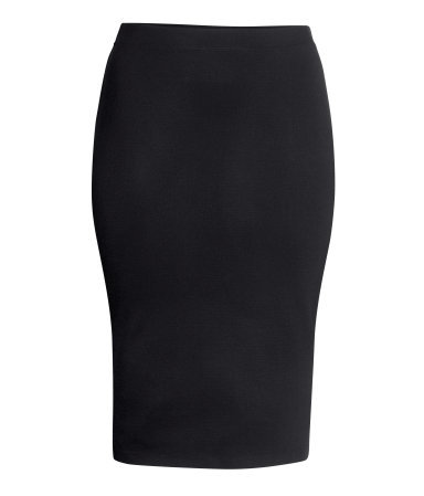 + Pencil Skirt - length: below the knee; pattern: plain; style: pencil; fit: body skimming; waist detail: elasticated waist; waist: high rise; predominant colour: black; occasions: evening, work, creative work; fibres: viscose/rayon - stretch; texture group: jersey - clingy; pattern type: fabric; season: s/s 2014