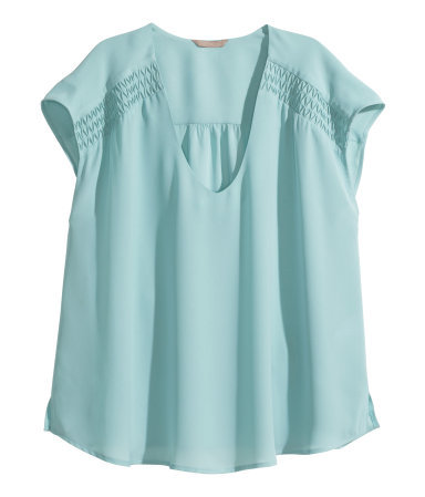 + Sleeveless Blouse - neckline: low v-neck; sleeve style: capped; pattern: plain; predominant colour: pale blue; occasions: casual, creative work; length: standard; style: top; fibres: polyester/polyamide - 100%; fit: loose; shoulder detail: flat/draping pleats/ruching/gathering at shoulder; sleeve length: short sleeve; pattern type: fabric; texture group: woven light midweight; season: s/s 2014