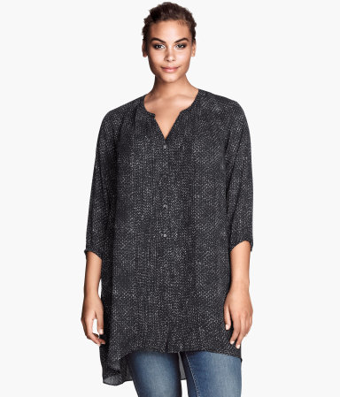 + Tunic - neckline: v-neck; length: below the bottom; style: blouse; secondary colour: white; predominant colour: black; occasions: casual, creative work; fibres: polyester/polyamide - 100%; fit: loose; back detail: longer hem at back than at front; sleeve length: 3/4 length; sleeve style: standard; pattern type: fabric; pattern size: light/subtle; pattern: patterned/print; texture group: woven light midweight; season: s/s 2014