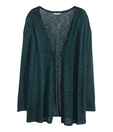 + Fine Knit Cardigan - pattern: plain; neckline: collarless open; style: open front; predominant colour: teal; occasions: casual; fibres: viscose/rayon - stretch; fit: loose; length: mid thigh; sleeve length: long sleeve; sleeve style: standard; texture group: knits/crochet; pattern type: knitted - other; season: s/s 2014