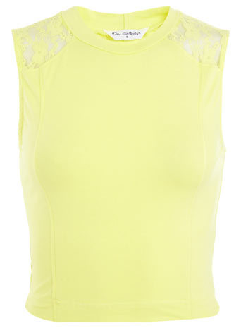 Lace Yoke Tank Crop - pattern: plain; sleeve style: sleeveless; length: cropped; predominant colour: primrose yellow; occasions: casual, evening; style: top; fibres: cotton - stretch; fit: tight; neckline: crew; sleeve length: sleeveless; pattern type: fabric; texture group: jersey - stretchy/drapey; embellishment: lace; season: s/s 2014; trends: zesty shades