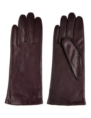 Cashmere Lined Leather Gloves - predominant colour: burgundy; occasions: casual, work; style: standard; length: wrist; material: leather; pattern: plain; season: s/s 2014