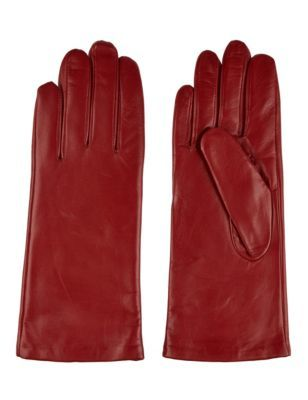 Cashmere Lined Leather Gloves - predominant colour: true red; occasions: casual; style: standard; length: wrist; material: leather; pattern: plain; season: s/s 2014; trends: zesty shades