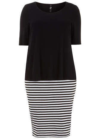 Black Stripe Layered Dress - style: shift; length: calf length; neckline: round neck; pattern: horizontal stripes; secondary colour: white; predominant colour: black; occasions: casual, creative work; fit: body skimming; fibres: viscose/rayon - stretch; hip detail: contrast fabric/print detail at hip; sleeve length: short sleeve; sleeve style: standard; pattern type: fabric; pattern size: standard; texture group: jersey - stretchy/drapey; season: s/s 2014