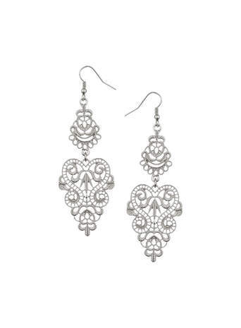 Silver Filigree Drop Earrings - predominant colour: silver; occasions: evening, occasion; style: chandelier; length: long; size: standard; material: chain/metal; fastening: pierced; finish: plain; season: s/s 2014