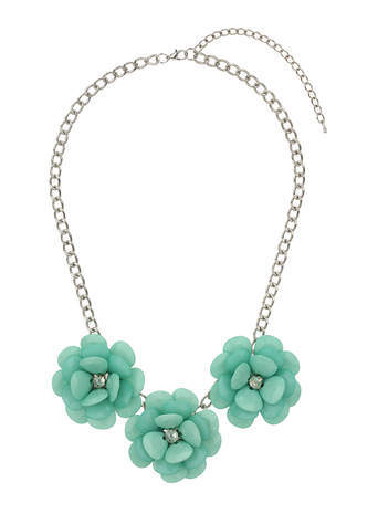 Green Flower Statement Necklace - predominant colour: mint green; secondary colour: silver; occasions: casual, evening, occasion, creative work; length: short; size: large/oversized; material: chain/metal; finish: metallic; embellishment: crystals/glass; style: bib/statement; season: s/s 2014