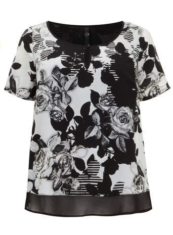 Black & White Floral Print Double Layer Top - neckline: round neck; length: below the bottom; secondary colour: white; predominant colour: black; occasions: casual, creative work; style: top; fibres: polyester/polyamide - 100%; fit: body skimming; sleeve length: short sleeve; sleeve style: standard; texture group: silky - light; pattern type: fabric; pattern: florals; season: s/s 2014; pattern size: big & busy (top)