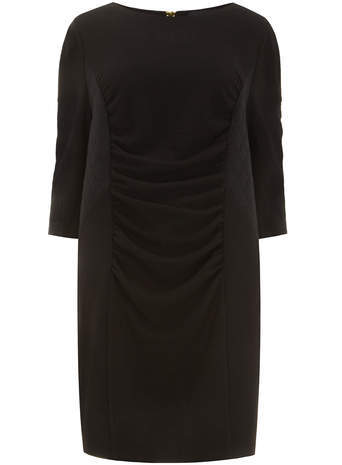 Carmakoma Black Textured Bodycon Dress - style: shift; neckline: slash/boat neckline; fit: tailored/fitted; pattern: plain; waist detail: twist front waist detail/nipped in at waist on one side/soft pleats/draping/ruching/gathering waist detail; predominant colour: black; occasions: evening, work, occasion, creative work; length: on the knee; fibres: polyester/polyamide - 100%; sleeve length: 3/4 length; sleeve style: standard; pattern type: fabric; texture group: woven light midweight; season: s/s 2014