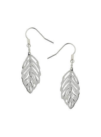 Glitter Leaf Drop Earrings - predominant colour: silver; occasions: casual, evening, work, creative work; style: drop; length: long; size: small/fine; material: chain/metal; fastening: pierced; finish: plain; embellishment: glitter; season: s/s 2014