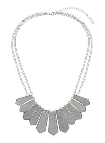Silver Glitter Collar Necklace - predominant colour: silver; occasions: casual, evening, occasion, creative work; length: mid; size: large/oversized; material: chain/metal; finish: metallic; embellishment: chain/metal; style: bib/statement; season: s/s 2014