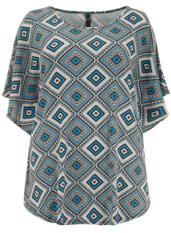 Blue Tribal Print Top - neckline: round neck; sleeve style: angel/waterfall; length: below the bottom; occasions: casual; style: top; fibres: viscose/rayon - stretch; fit: loose; predominant colour: multicoloured; sleeve length: half sleeve; pattern type: fabric; pattern size: standard; pattern: patterned/print; texture group: other - light to midweight; season: s/s 2014; multicoloured: multicoloured