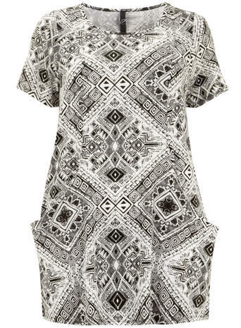 Black & White Tribal Pocket Tunic Top - neckline: round neck; length: below the bottom; style: tunic; hip detail: front pockets at hip; secondary colour: white; predominant colour: black; occasions: casual; fibres: viscose/rayon - stretch; fit: body skimming; sleeve length: short sleeve; sleeve style: standard; pattern type: fabric; pattern: patterned/print; texture group: jersey - stretchy/drapey; season: s/s 2014